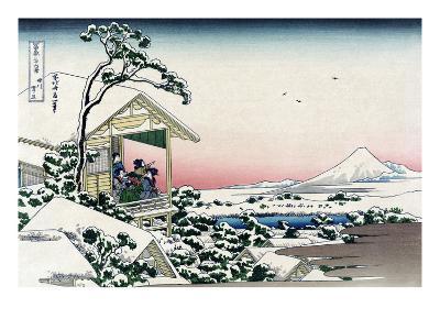 Tea House at Koishikawa-Katsushika Hokusai-Art Print