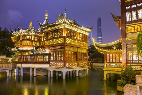 Tea House at the Yuyuan Gardens and Bazaar with the Shanghai Tower Behind, Old Town, Shanghai-Jon Arnold-Photographic Print
