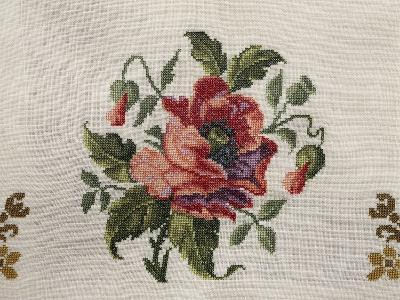 Tea Tablecloth, Embroidered in Cross-Stitch on Linen, Depicting Bunch of Poppies, 1800--Giclee Print