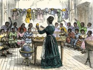 """Teaching Objects to Children in a """"colored School,"""" New York City, 1870"""
