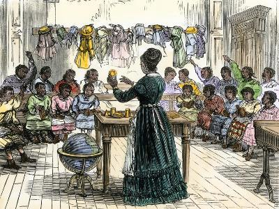"""Teaching Objects to Children in a """"colored School,"""" New York City, 1870--Giclee Print"""