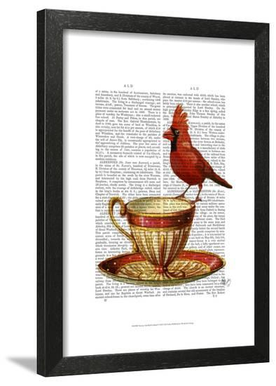 Teacup And Red Cardinal-Fab Funky-Framed Art Print