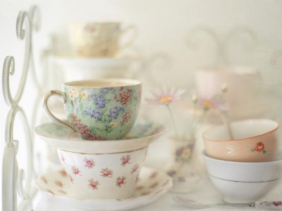 Teacups on White-Sharon Lapkin-Photographic Print