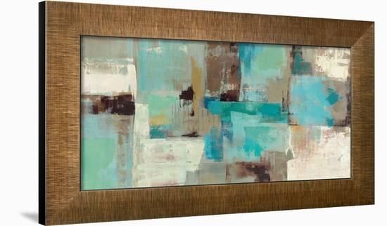 Teal and Aqua Reflections V2-Silvia Vassileva-Framed Art Print
