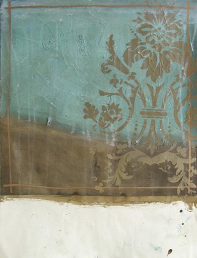 Teal and Bronze Abstract I-Jennifer Goldberger-Art Print