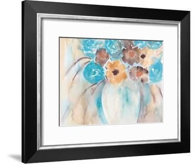 Teal Brown Garden Bouquet-Beverly Dyer-Framed Art Print