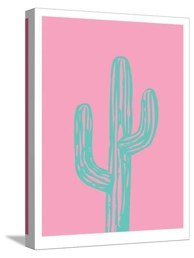 Teal Cactus-Ashlee Rae-Stretched Canvas Print