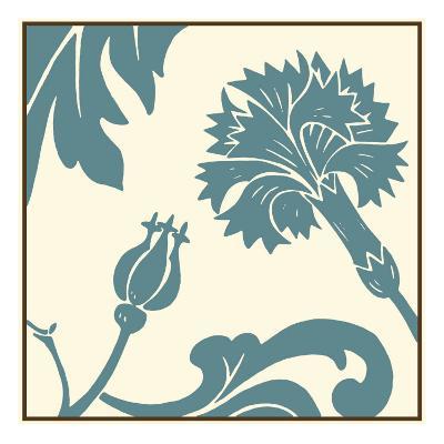 Teal Floral Motif II-Chariklia Zarris-Art Print