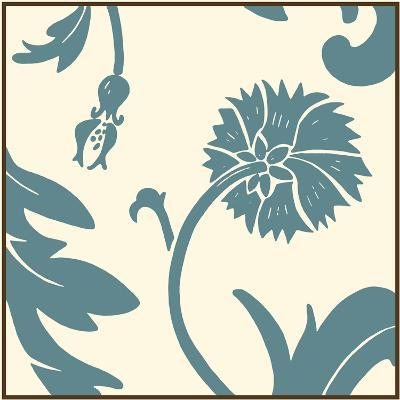 Teal Floral Motif III-Chariklia Zarris-Art Print