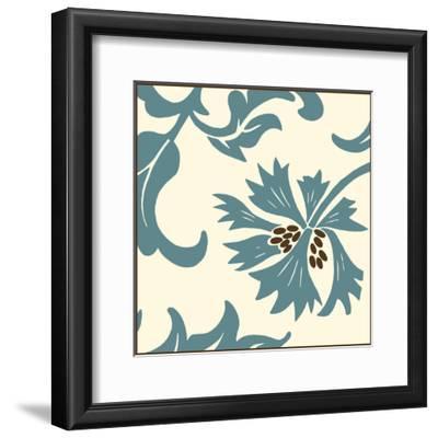 Teal Floral Motif IV-Chariklia Zarris-Framed Art Print
