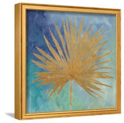 Teal Gold Leaf Palm I-Patricia Pinto-Framed Art Print