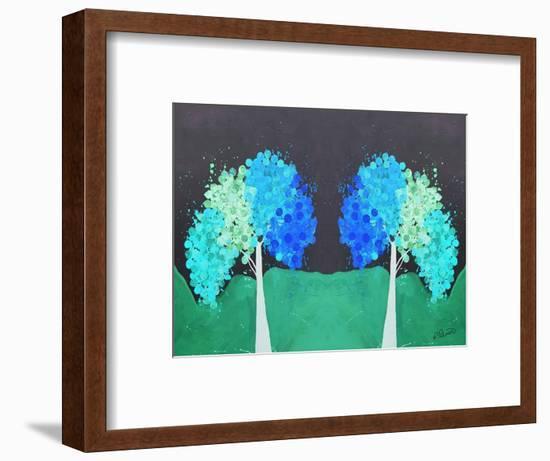 Teal Green Folksy Trees-Ruth Palmer-Framed Art Print