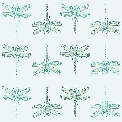 Teal Pattern with Dragonflies- ameu-Art Print