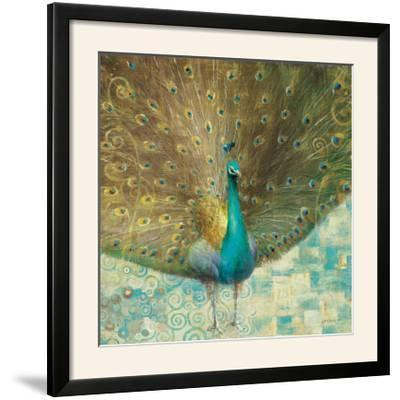 Teal Peacock on Gold-Danhui Nai-Framed Photographic Print