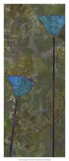 Teal Poppies IV-Ricki Mountain-Art Print