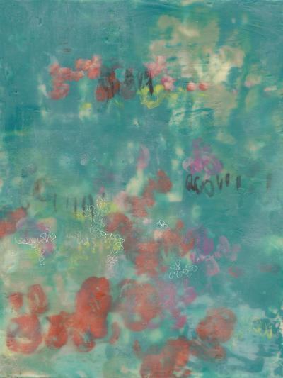 Teal Rose Garden II-Jennifer Goldberger-Art Print