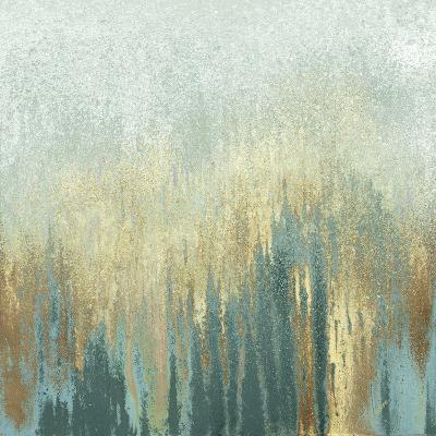 Teal Woods In Gold I-Roberto Gonzalez-Art Print