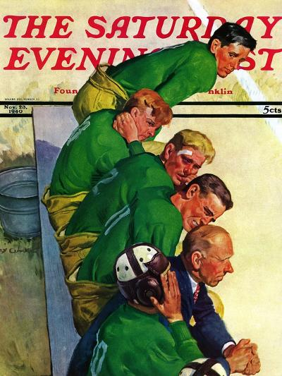 """""""Team on Bench,"""" Saturday Evening Post Cover, November 23, 1940-Emery Clarke-Giclee Print"""