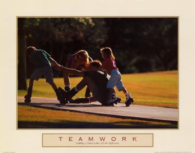 Teamwork: Family of Skaters--Art Print