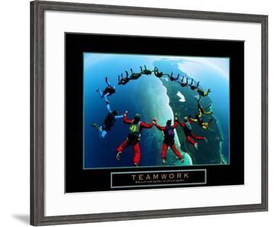 Teamwork: Skydivers II--Framed Art Print