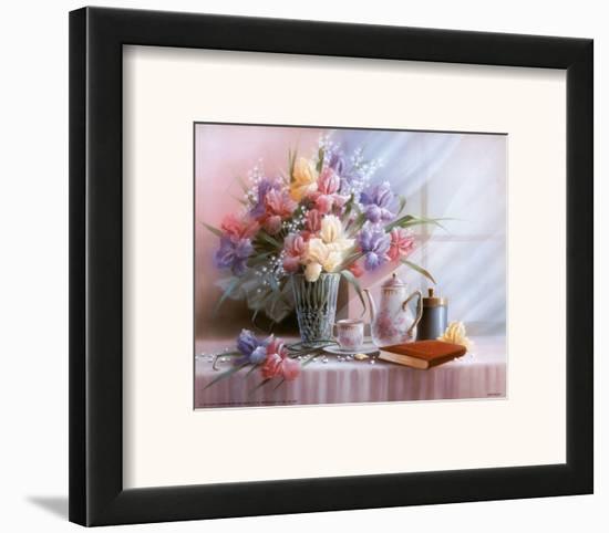 Teapot and Iris-T^ C^ Chiu-Framed Art Print