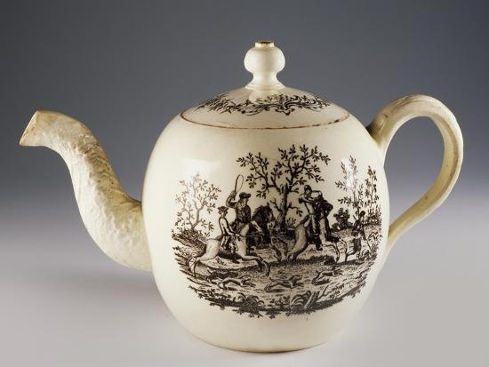Teapot with Fox Hunting Scenes, Ca 1760, Ceramic, Staffordshire Manufacture. England.--Giclee Print