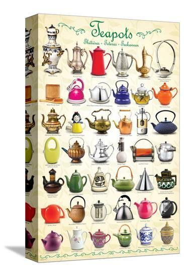 Teapots Collage--Stretched Canvas Print