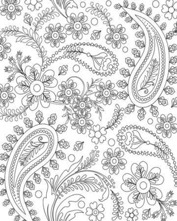 Teardrop Floral Design Coloring Art