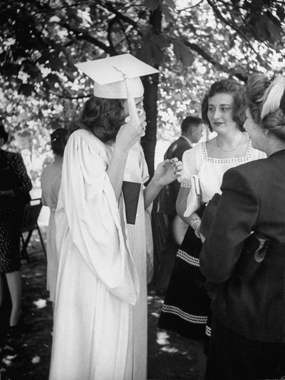 Tearful Senior Gretchen Swoboda Wiping Away Tears at End of Her Graduation at Monticello College--Photographic Print