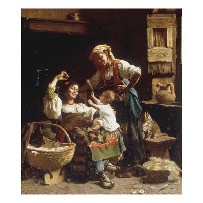 Teasing the Baby-Pietro Saltini-Giclee Print