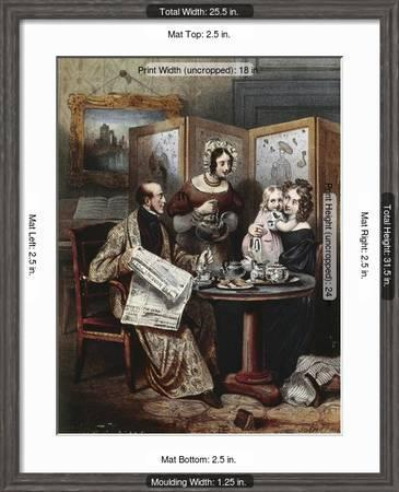 Teatime At Bourgeois Family In London England 19th Century Engraving Giclee Print Art Com