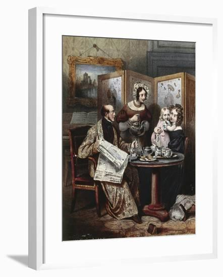 Teatime at Bourgeois Family in London, England 19th Century Engraving--Framed Giclee Print