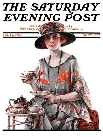 """Teatime,"" Saturday Evening Post Cover, July 7, 1923-Pearl L^ Hill-Giclee Print"