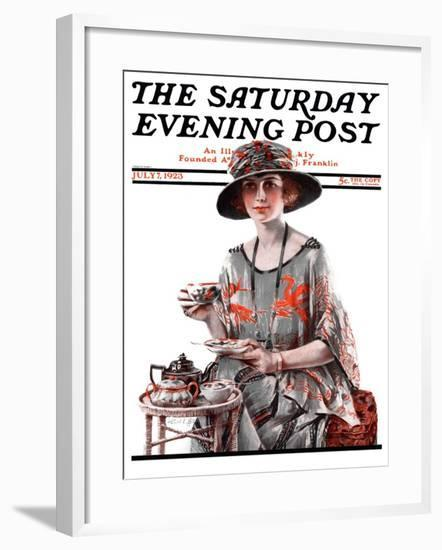 """""""Teatime,"""" Saturday Evening Post Cover, July 7, 1923-Pearl L. Hill-Framed Giclee Print"""