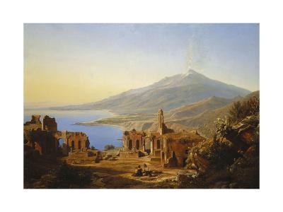 Teatro Greco, Taormina, with Etna beyond-Karl Robert Kummer-Giclee Print