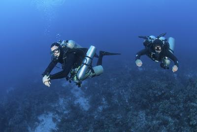 Technical Divers with Equipment Swimming in Caribbean Reef--Photographic Print
