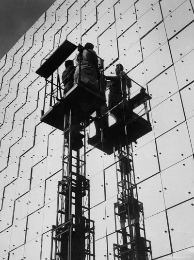 Technicians Adjusting Mirrors of Solar Furnace-Joe Scherschel-Photographic Print