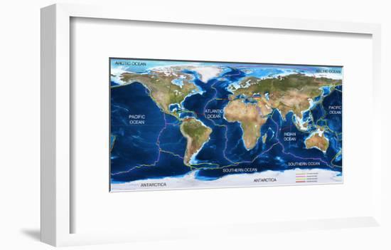 Tectonic Plates Map-Ocean and Design-Framed Art Print