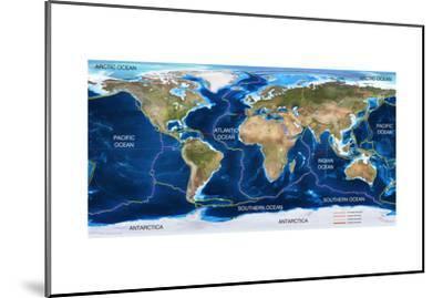 Tectonic Plates Map-Ocean and Design-Mounted Art Print