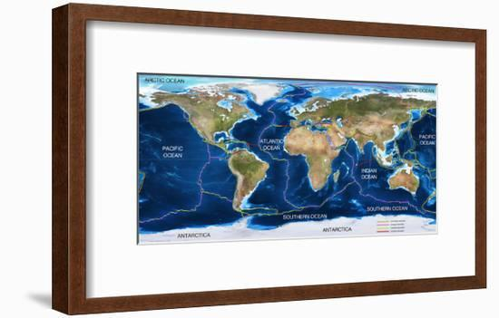 Tectonic Plates Map-Ocean and Design-Framed Art Print