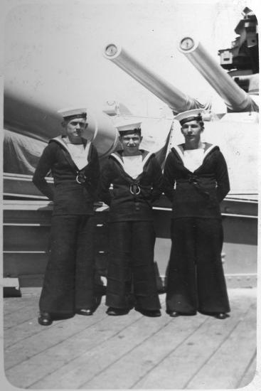 Ted and Pals, Three Royal Navy Sailors on Board a Warship, C1920s-C193s--Giclee Print