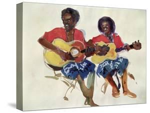 Fijian Guitar Duo, 1985 by Ted Blackall