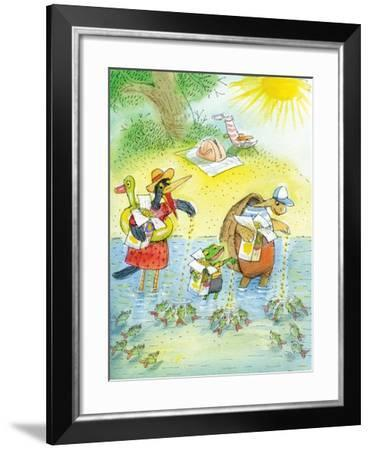 Ted, Ed and Caroll and the Tiny Fish 4 - Turtle-Valeri Gorbachev-Framed Giclee Print