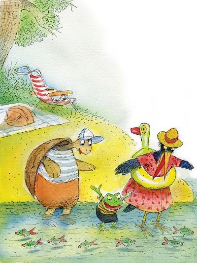 Ted, Ed and Caroll the Tiny Fish - Turtle-Valeri Gorbachev-Giclee Print