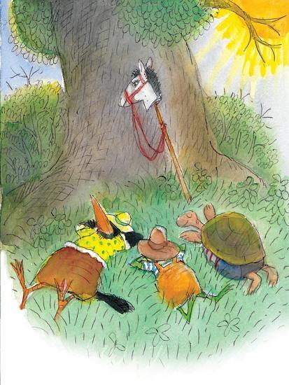 Ted, Ed, Caroll, and the Horse - Turtle-Valeri Gorbachev-Giclee Print