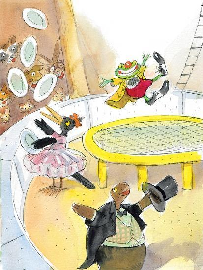 Ted, Ed. Caroll and the Trampoline - Turtle-Valeri Gorbachev-Giclee Print