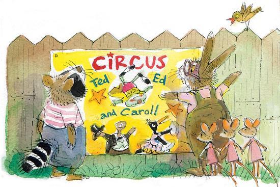 Ted, Ed, Caroll and the Trampoline - Turtle-Valeri Gorbachev-Giclee Print