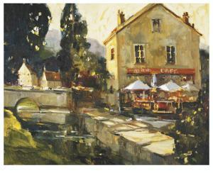 Pont Aven River Cafe by Ted Goerschner