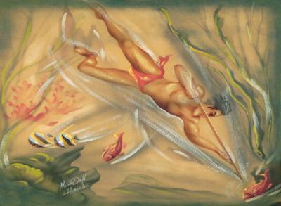 Hawaiian Spear Fisherman by Ted Mundorff