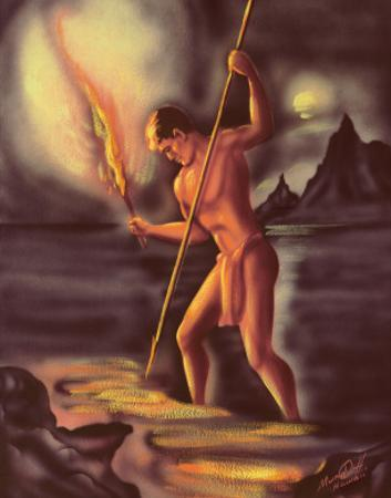 Night Fisherman, Cover from The Story of Hawaii, c.1930s by Ted Mundorff